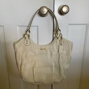 Coach Ashley Gathered Leather Shoulder Tote Bag